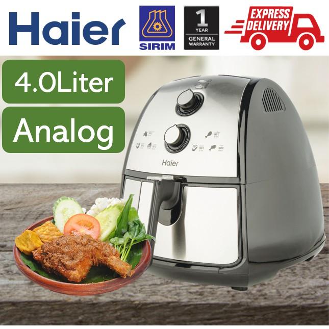 【READY STOCK】 Haier 4.0L ANALOG Air Fryer - 4 Functions (Fry, Roast, Grill, Bake) - 1 Year Haier Warranty - 2.5L