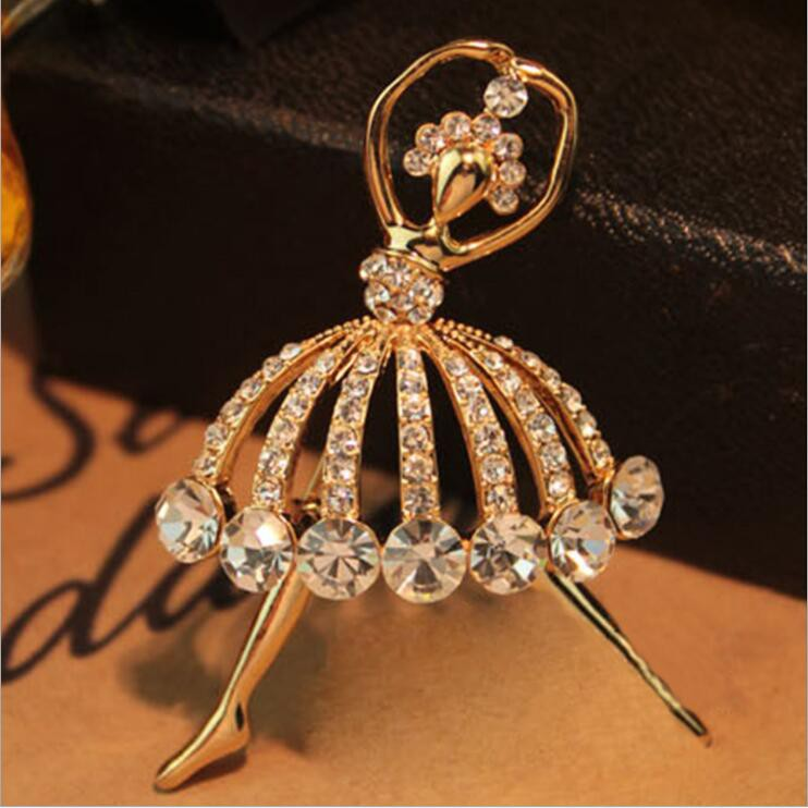 fc8e13839 ProductImage. ProductImage. Luxury Ballet Dancer Crystal Brooch Sweater Pin  Badge Pet Scarf buckle Jewelry