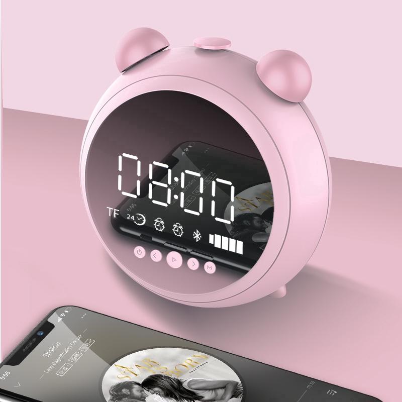 JKR HD Mirror Alarm Clock Speaker Mini Candy Color Soundbass BT 5 0 Speakers