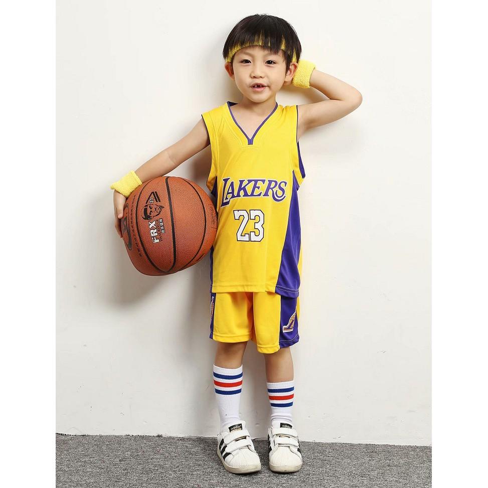 Boys Basketball Cloths Lakers No.23 LeBron James Jersey Jersi Kids ...