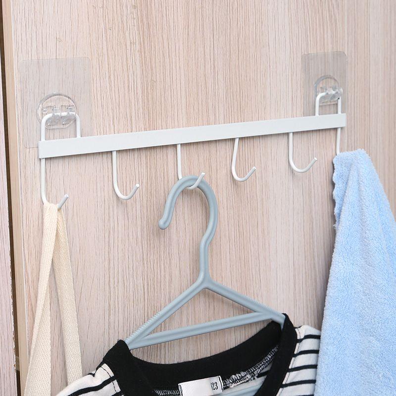 无痕免打孔强力粘胶挂钩厨房厨具毛巾不锈钢排钩6连钩