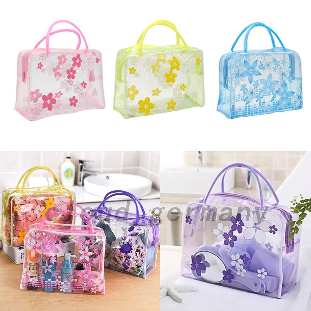 กระเป๋าใส่เครื่องสำอางลายดอกไม้ PVC ก