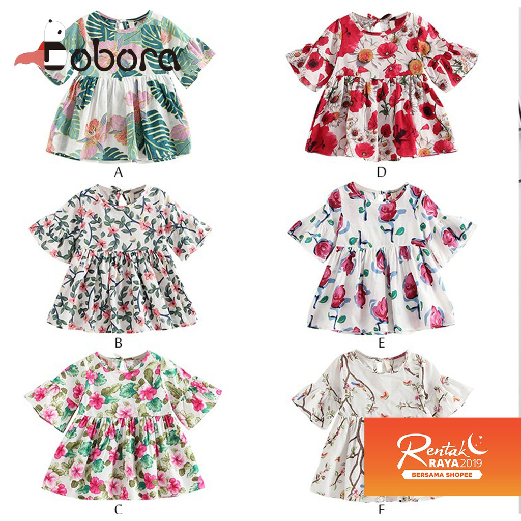 da23e60759b88 BOBORA Ready Stock Kids Girls Summer Clothes Floral Sundress Elastic Waist  Dress