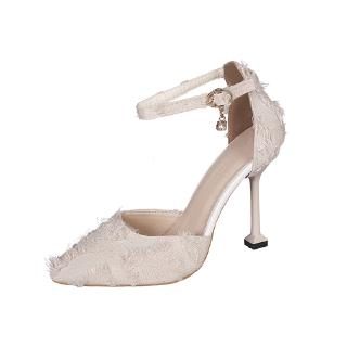 3aad2eb64e3 Yinan Suede High Heel Korean Stiletto Buckle Women'S Shoes | Shopee ...