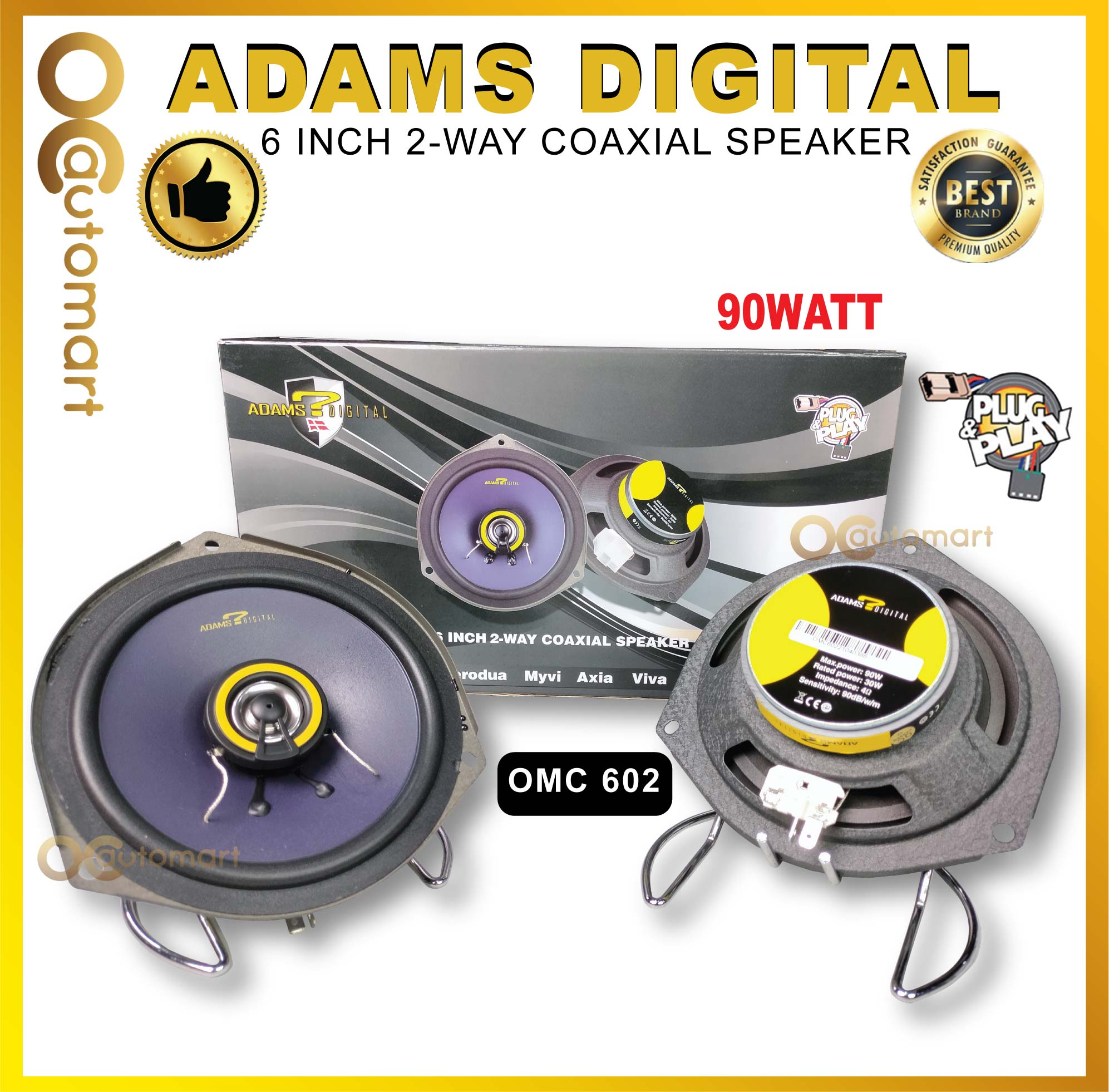 "Adams Digital 6""Inch 2-Way Coaxial Plug & Play Speaker Myvi/Axia/VIva/Alza/Bezza/Aruz OMC-602"