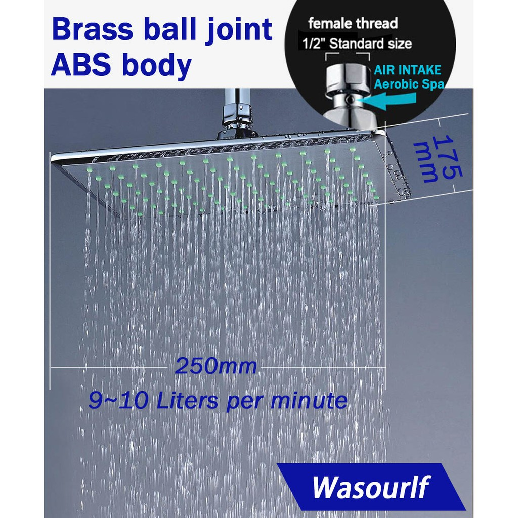 Wasourlf Rain Shower Head Wall Mounted Overhead Shower Chrome Abs