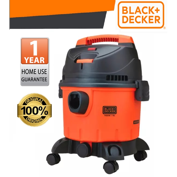 BLACK & DECKER BDWD15-XD 1400W 15L WET DRY CLEANER WITH STANADRD ACCESSORIES + 1PCS WASHABLE DUSTER BAG EASY USE SAFEY