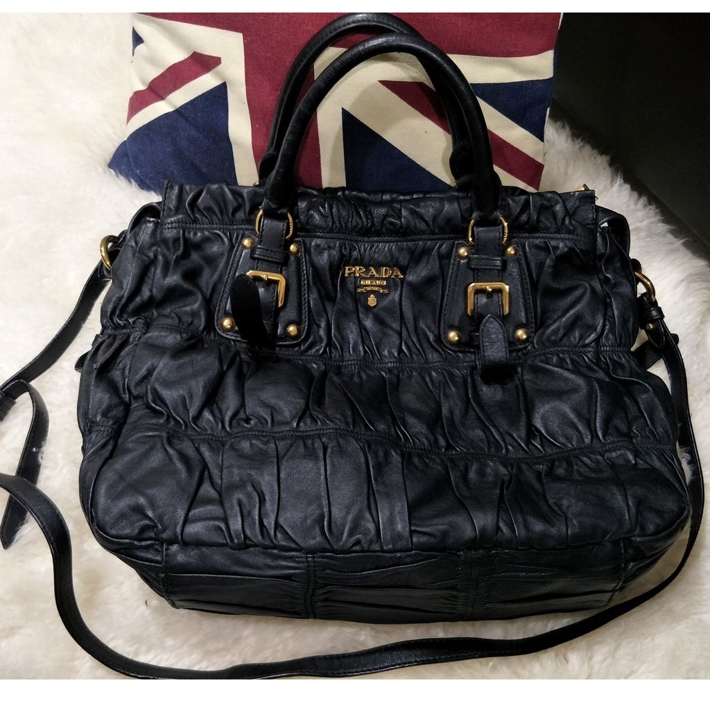 Black Leather Handbag Prada Sho