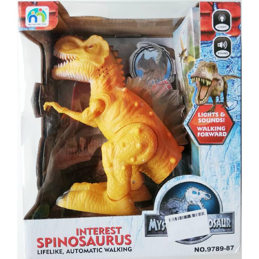 Electric 19cm Simulation Sound Light Walking Spinosaurus Dinosaur Toy