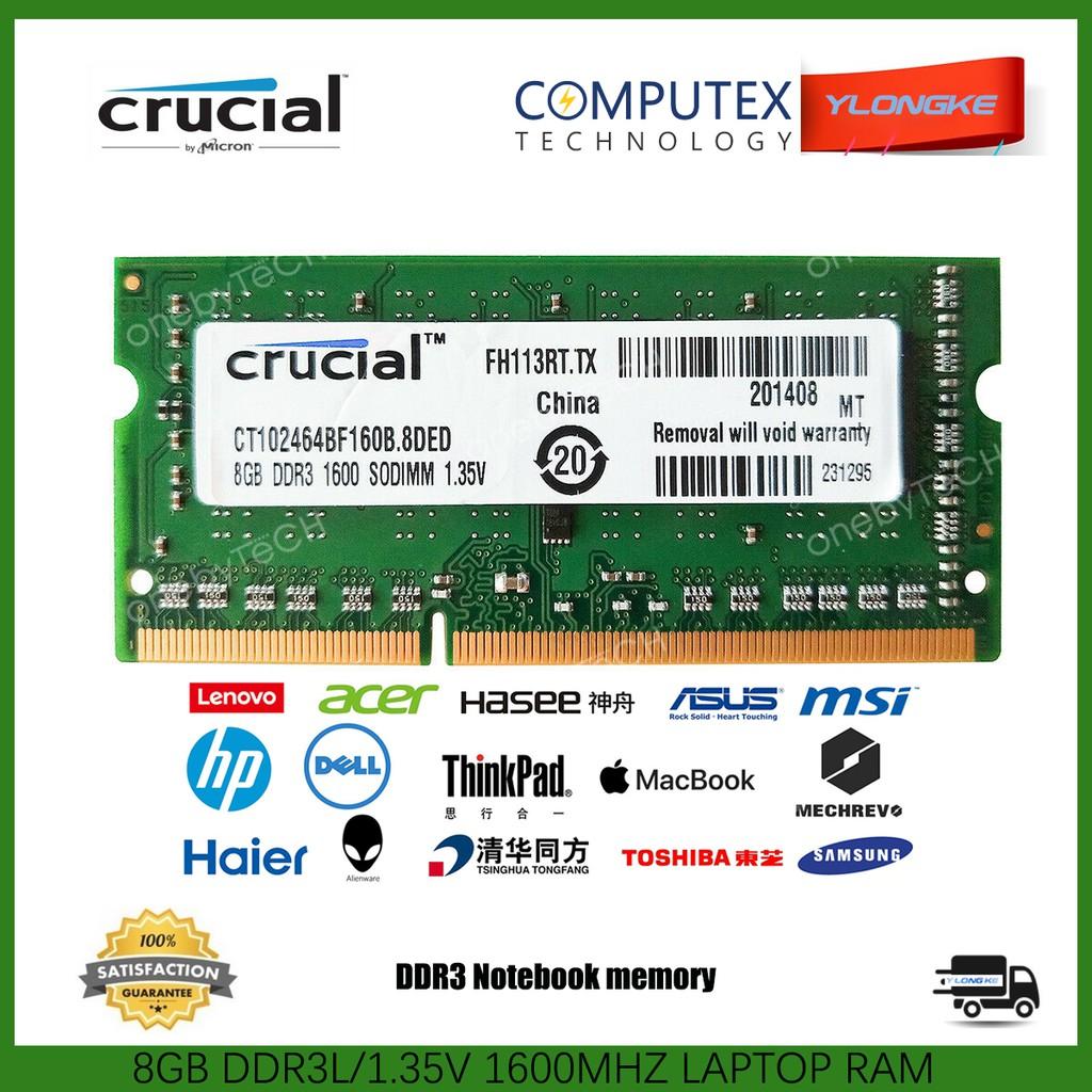 ADATA DDR3 SODIMM PC3L-12800 1.35V 204 Pin 8GB 2x4GB Laptop Memory RAM 1 Rank