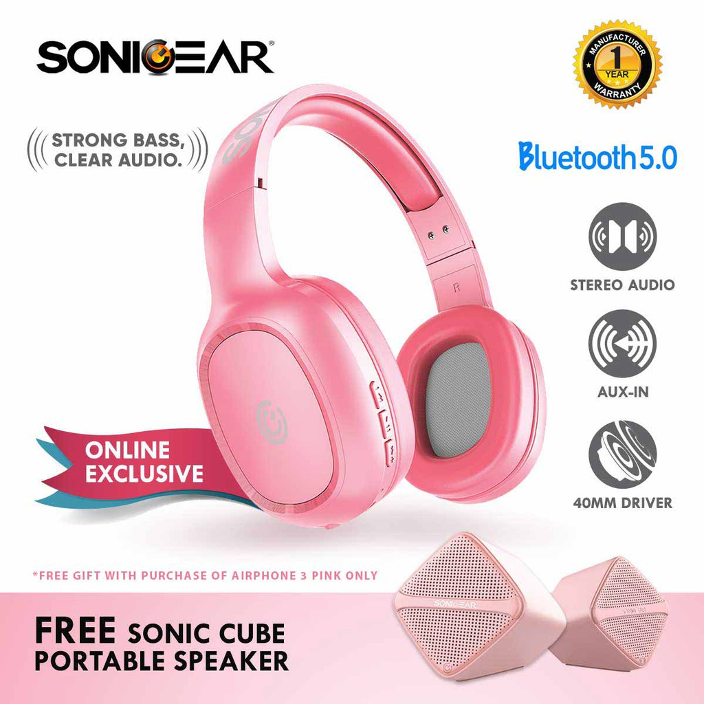 cb67532c38953b (Exclusive) SonicGear AirPhone 3 Pink Bluetooth Headphones With Mic Free  Speaker   Shopee Malaysia