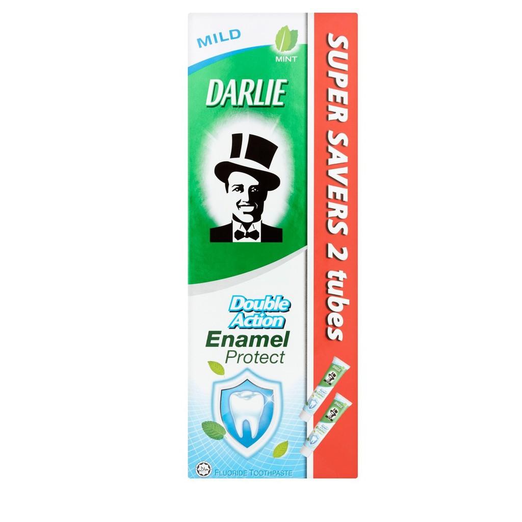 Darlie Double Action Enamel Protect Fluoride Toothpaste Mild Mint (200g x 2)