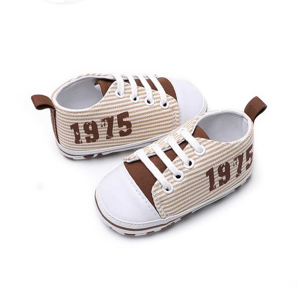 Infant Toddler Baby Casual Shoes Cotton Stripe Soft Sole Non-Slip Sneaker Prewalker Pink 4M (Beige)