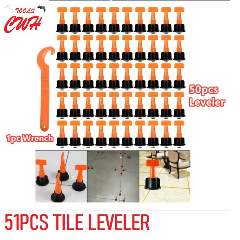 51pcs Tiles Leveler Spacers Tile Leveling System with Special Wrench Reusable Tile Leveling Positioning System Leveler T