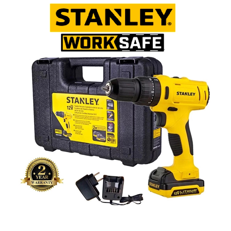 STANLEY STANLEY SCH121S1H-B1 CORDLLESS DRILL DRIVER 12V HAMMER DRILL + HT COMBO   EASY USE SAFETY GOOD  QUALITY