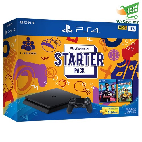 Sony PlayStation 4 Starter Pack PS4 CUH-2218AB01 1TB Console Jet Black 2  Years Warranty by Sony Malaysia