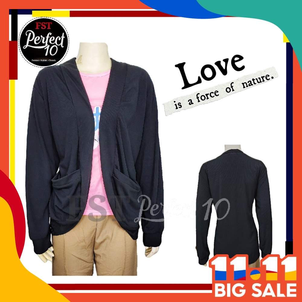 FST Women Long Sleeve Cardigan With Pockets / Baju Kardigan Lengan Panjang Berpoket [703]