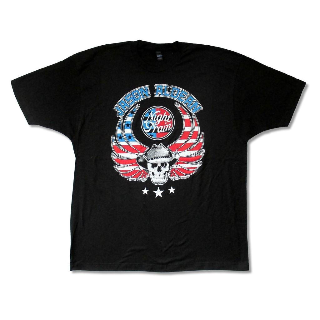 Mens Jason Aldean Classic Breathable Short-Sleeve Crewneck Cotton T-Shirt Black