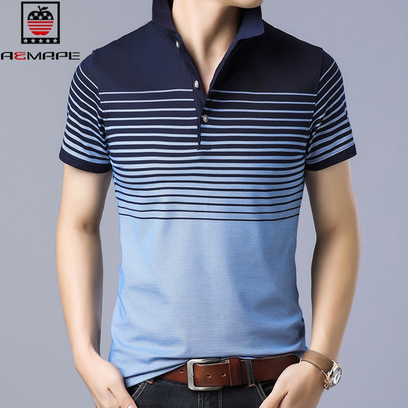 e3029e51 ready stock American Apple Men's lapel striped polo shirt short sleeve  trend summer business casual clothing t-shirt man
