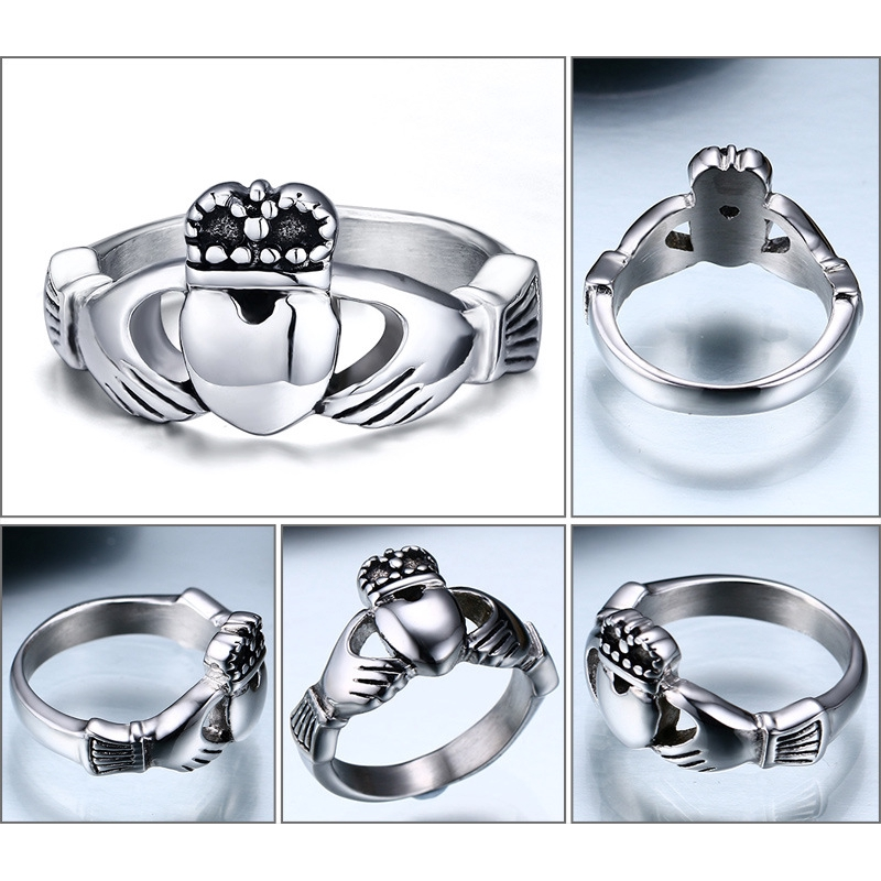 Womens Claddagh Size 5-10 Stainless Steel Wedding Lrish Traditional Rings Gift