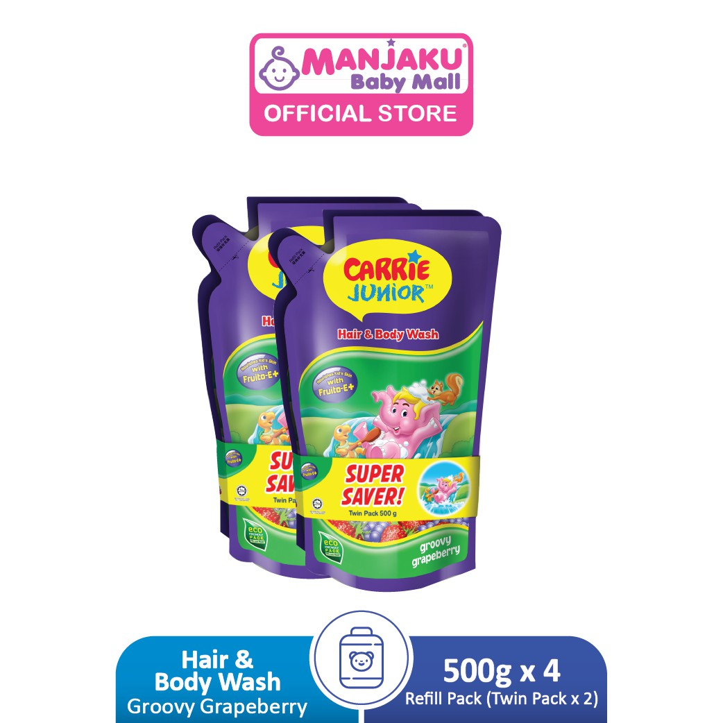 Carrie Junior Baby Hair & Body Wash Refill Twin Packs x 2 (500g x 4) - Groovy Grapeberry