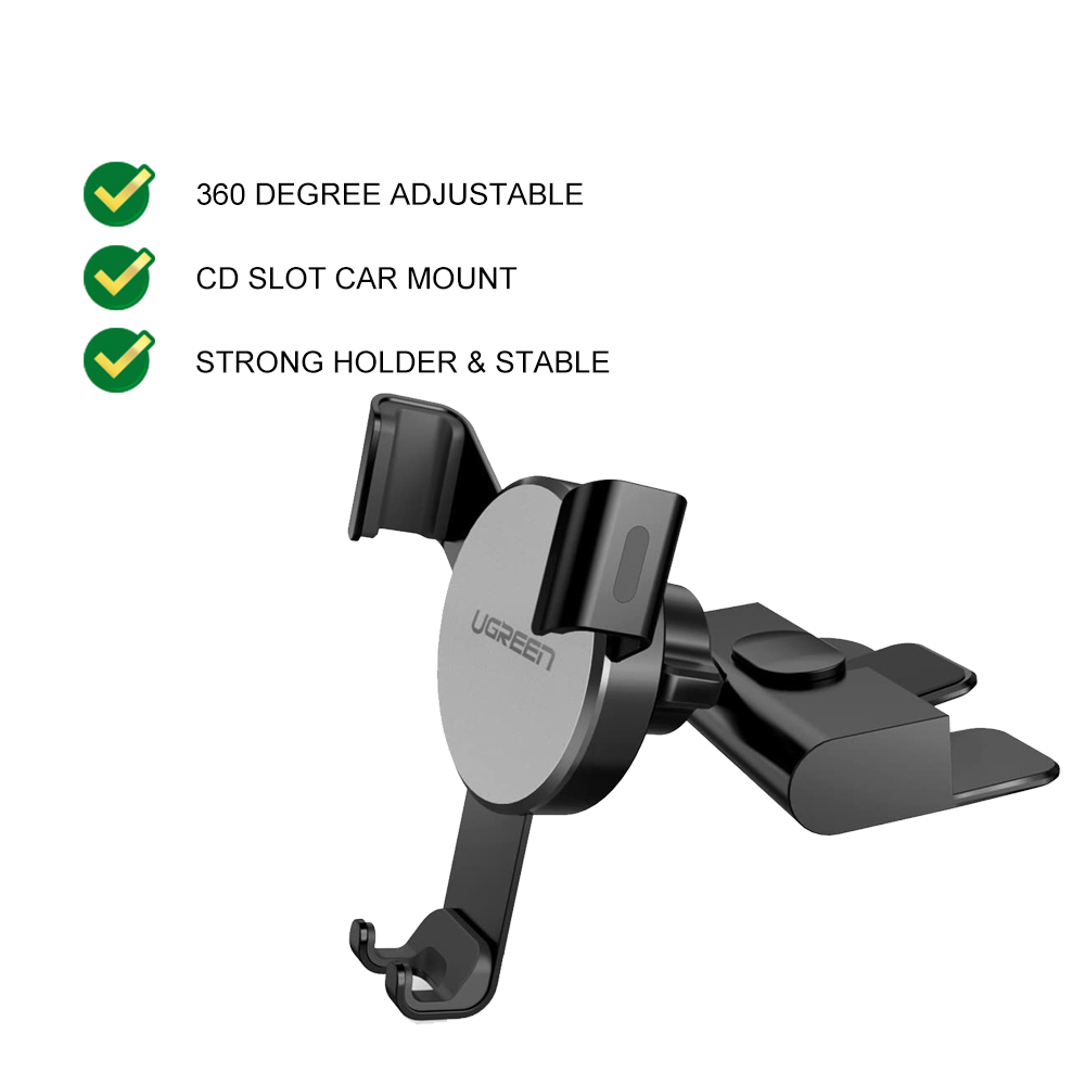UGREEN CD Slot Phone Holder Car Mount Mobile Stand Auto Lock Clamp iPhone 11 Pro XR XS Samsung S20 Huawei P30 OnePlus
