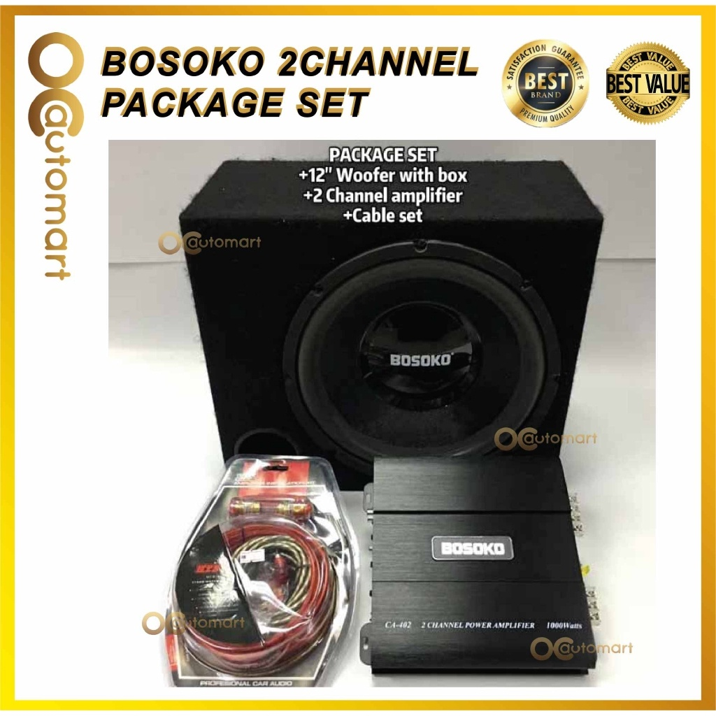 """PACKAGE SET BOSOKO 2-Channel AMPLIFIER 1000 Watts, BOSOKO 12"""" woofer with box 400 watts,Power Cable Wiring Subwoofer"""