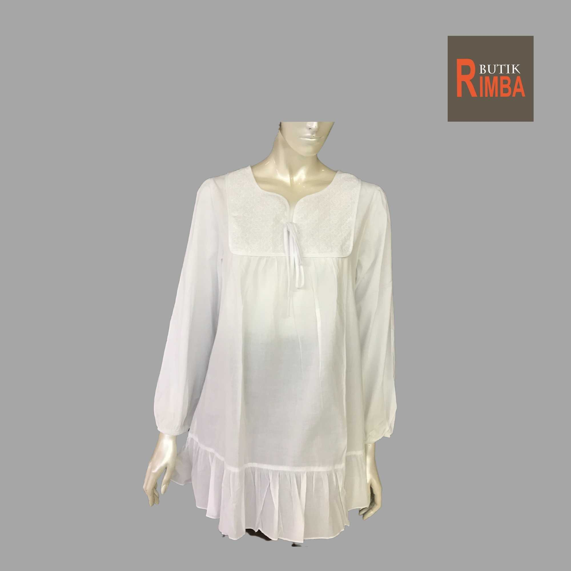 WOMEN CASUAL AND COMFORTABLE WHITE BLOUSE COTTON FREE SIZE PATTERN 15