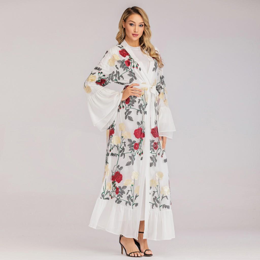 Randolly Womens Dresses,Muslim Women Summer Black Stitching Embroidery Cardigan Robes Long Dress