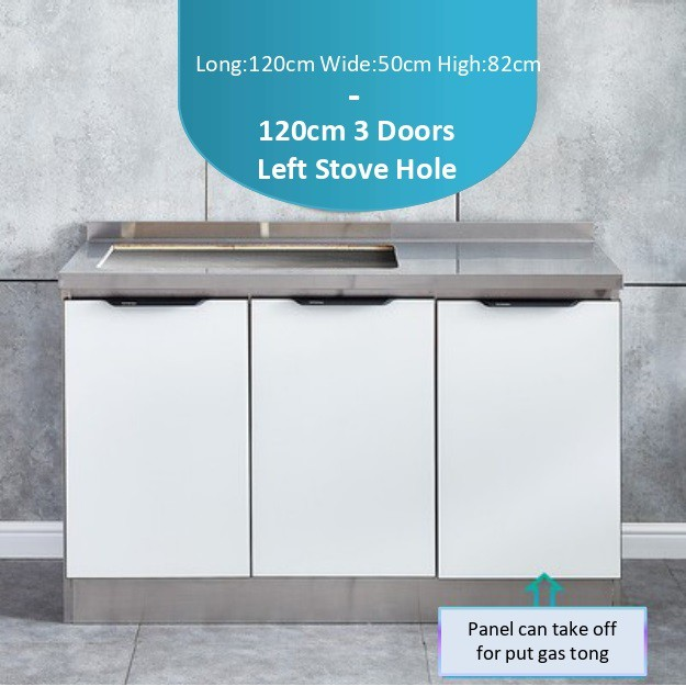 Stainless Steel Kitchen Cabinet With Tempered Glass Door Stove