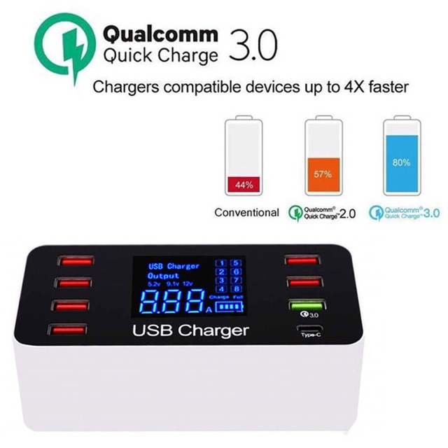 Portable Usb Mobile Phone PC Tablet QC3.0 6 USB Ports Type C USB Charger With Lcd Display Meter