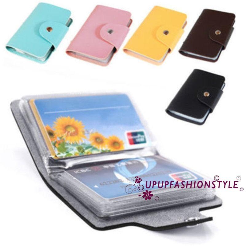 HOT Mens 24 Cards Slim PU Leather ID Credit Card Holder Pocket Case Purse Wallet