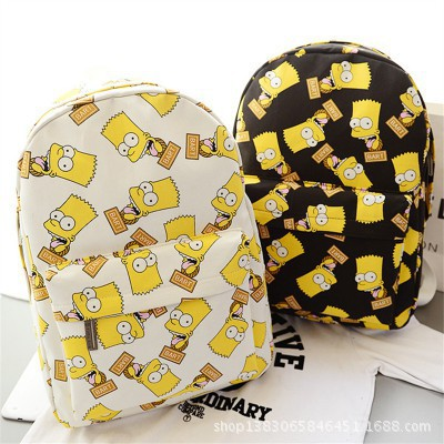 156ccecce97c student canvas bag man bag college wind female bag cute cartoon Simpson  backpack