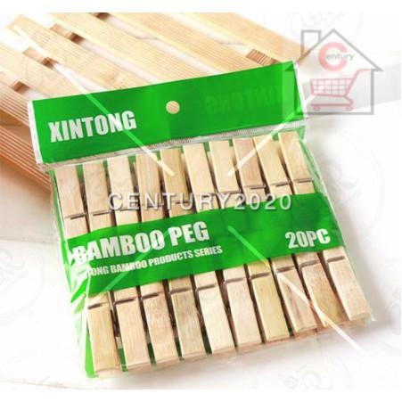 Bamboo Pegs Big Clothes Clip Multifunctional Clothes Clip Windproof Clip Wood Clip Clothespin Sunshine Clip Peg 20PCS
