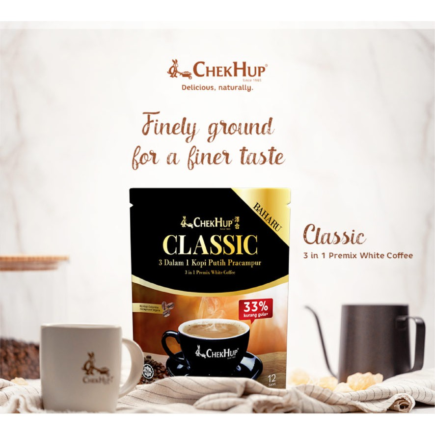 Chek Hup 3 in 1 Classic White Coffee (37g x 12's) [Bundle of 2 Pkts]