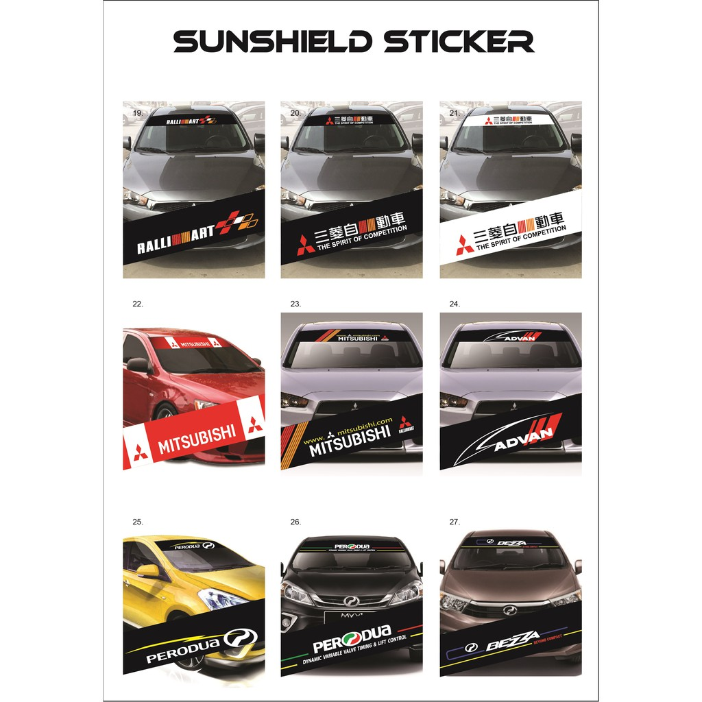 Universal Car Windscreen Sticker Front/Rear (132cm (L) x 25.5cm (W)(YS19-27)