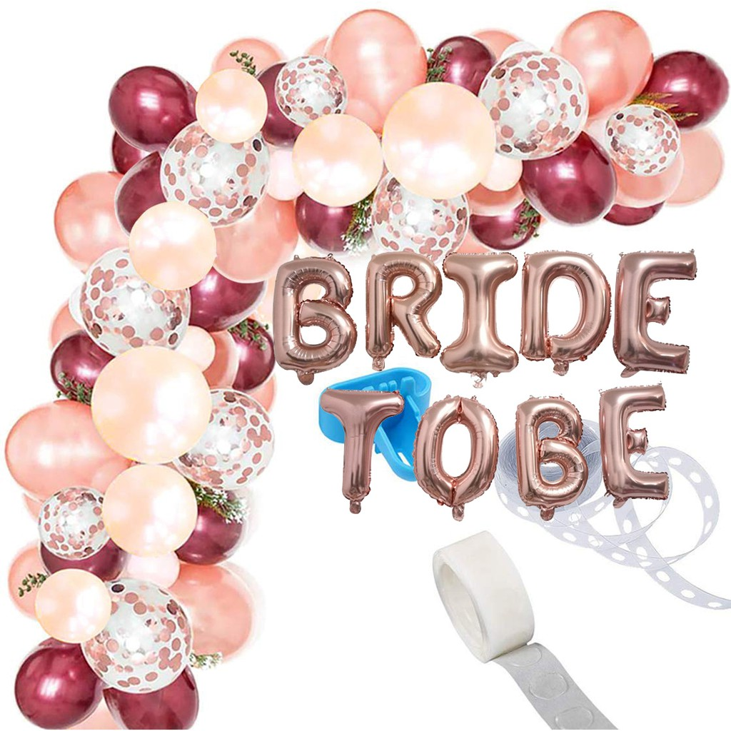 Bachelorette Party Decorations Bride To Be Foil Balloons Rose Gold Burgundy Balloon Garland Set For 2020 Wedding Party Shopee Malaysia