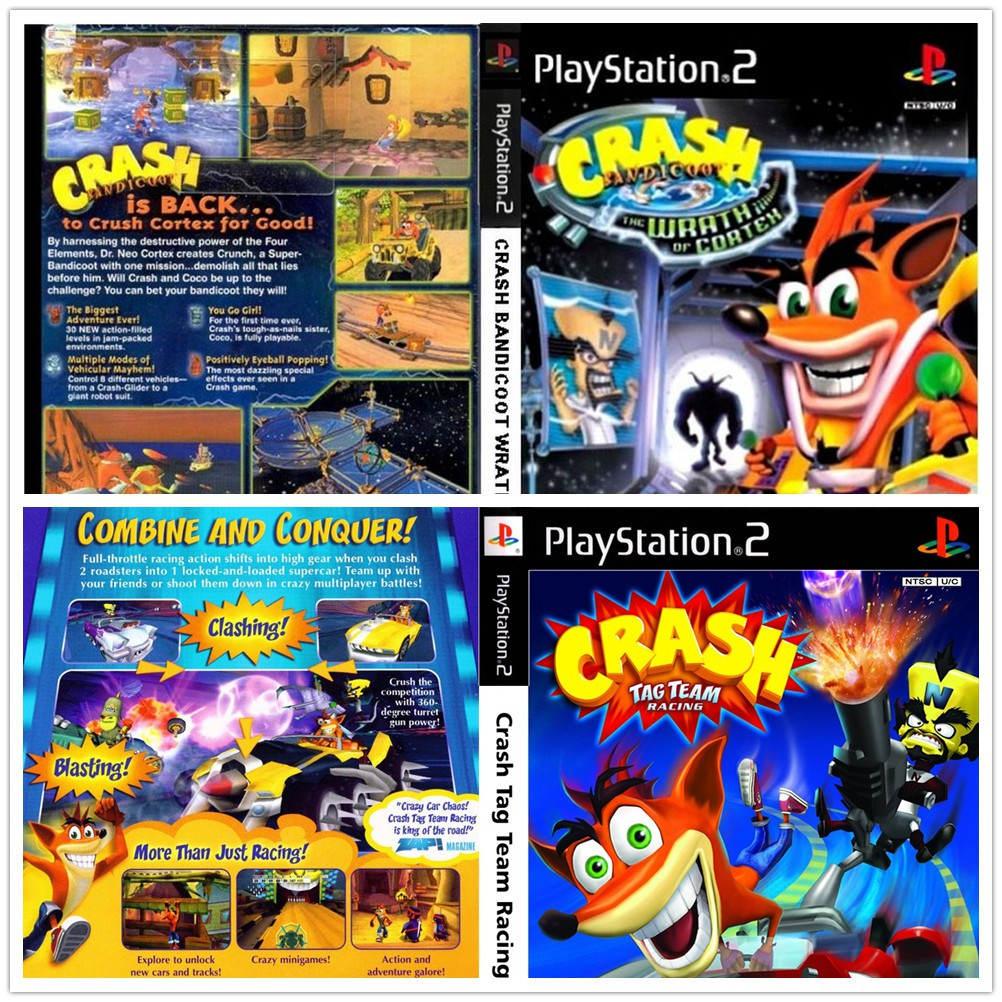 [NEW DISC NOT USED] PS2 Crash Bandicoot Wrath of Cortex Tag Team Racing  Games