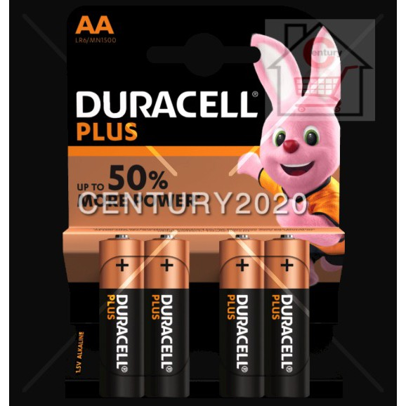 DURACELL Plus AA Battery 4pcs/pack Up To 50% More Power