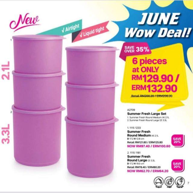 READY STOCK Tupperware (2/3/4/6pcs Combo) Summer Fresh Large Set Round Medium 2.1L Round Large 3.3L