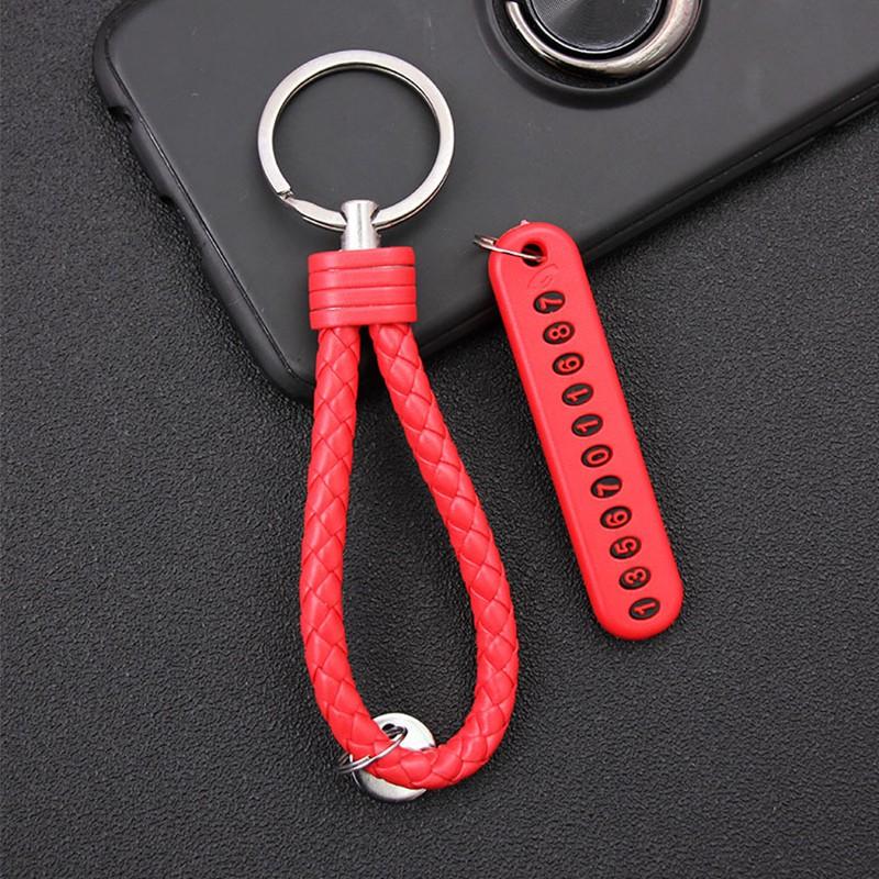 1Pcs Car Keychain Anti-lost Parking Card Phone Number PlateCar Keychain Pendant