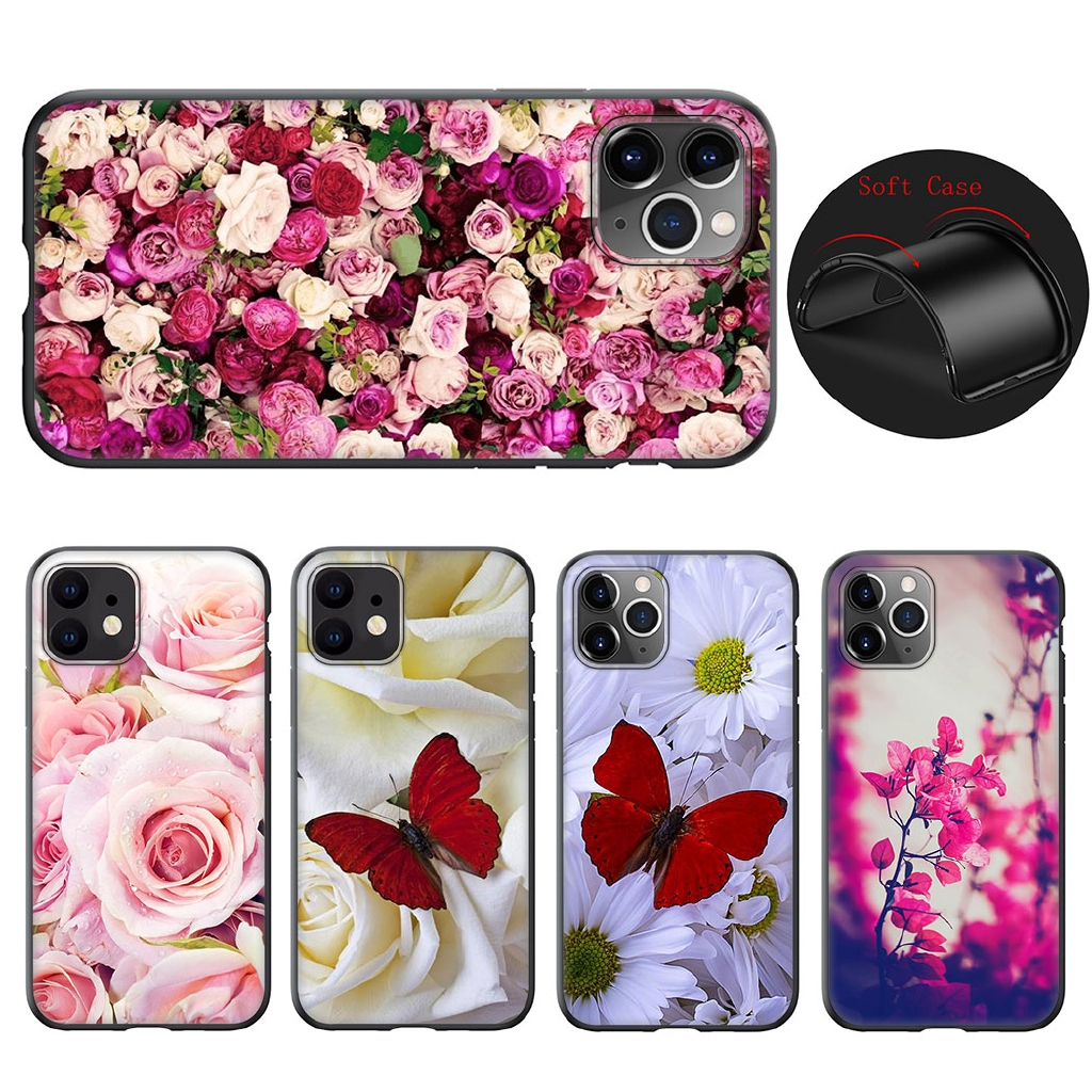 iphone 11 Pro Max Soft Silicone TPU Cover Red butterfly on roses flower