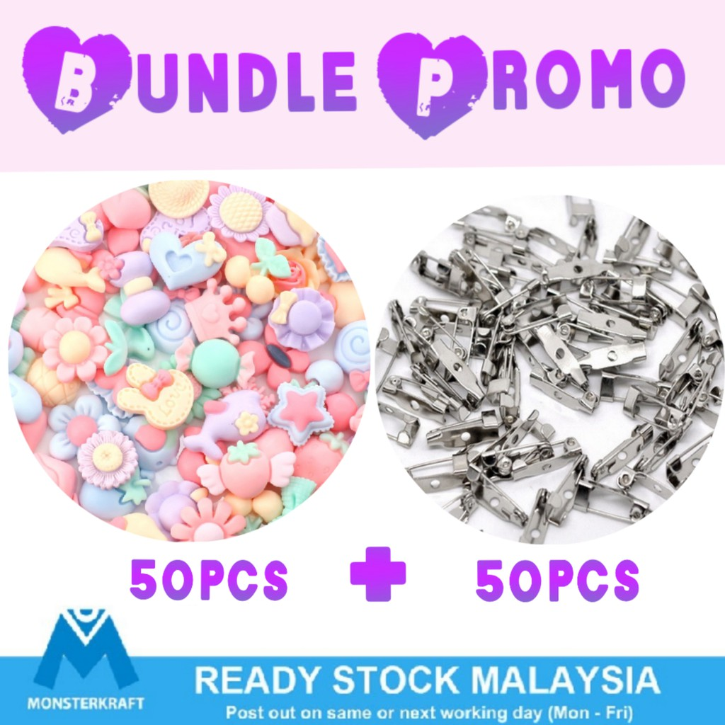 Bundle Resin Flat With Pin back, Kawaii Cabochon Mix, Cute Resin for Crafts  & Slime & Scrapbook