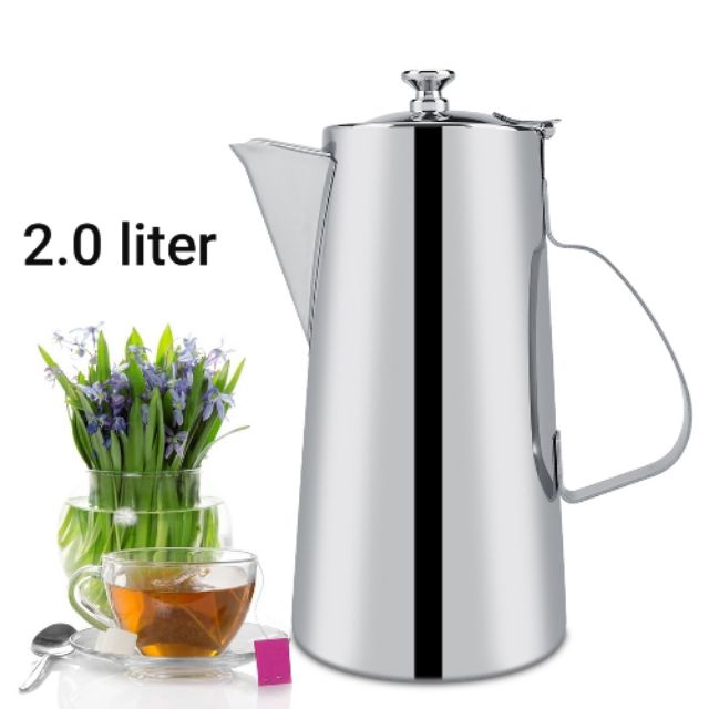 2.0L Stainless Steel Thick Coffee Ice Teapot Kettle Cold Water Cerek Jag Air