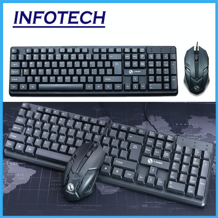 InfoTech T13 Keyboard & Mouse Combos combo usb wired laptop pc computer  notebook