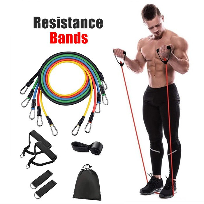 [ NEW ITEM ] Resistance Bands Gym Elastic Strong Rubber Home Stretch Heat Fitness Workout Exercise Yoga Training 11pcs/set