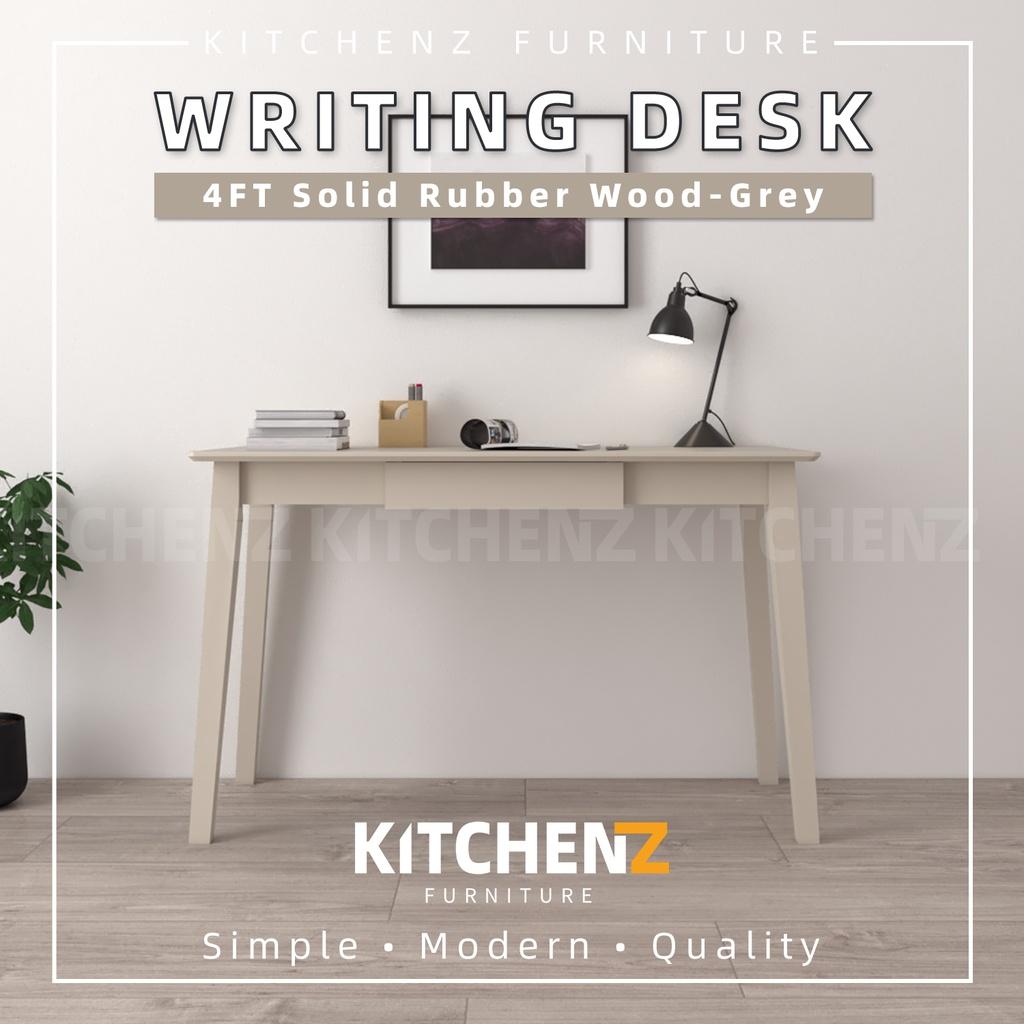 KitchenZ Modern 4FT Solid Rubber Wood Writing Desk / Meja Menulis / Office Desks-SSH-FN-62099-WT