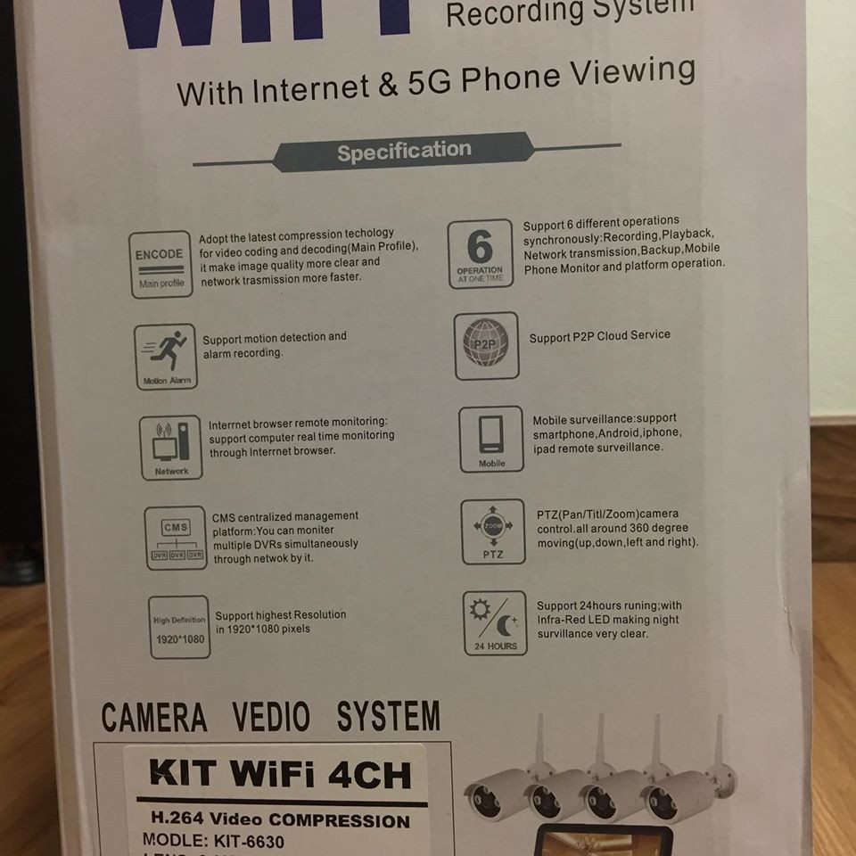 WIRELESS CCTV WITH 4 CHANNEL AND 2.0 MP