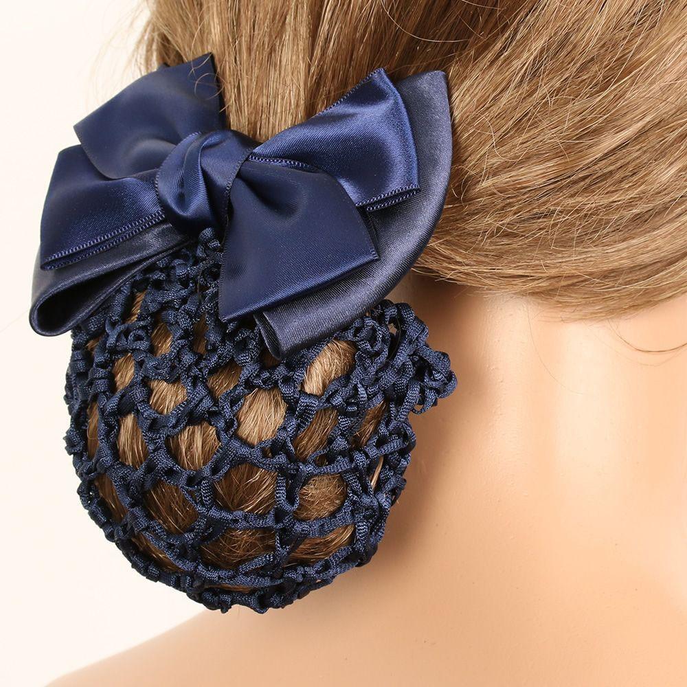 Women Bow Barrette Hair Clip Bowknot Bun Snood Hairnet Accessory Glittery HB