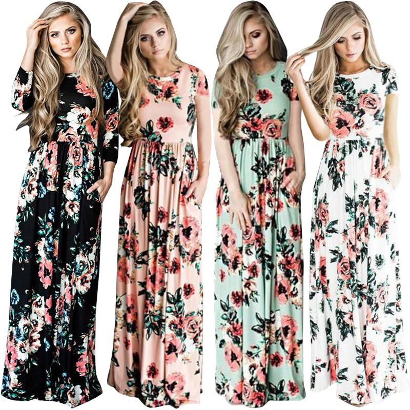 479a98220ac3f 【Ready Stock】Womens Fashion Party Long Sleeve Flower Print Long Cotton Dress